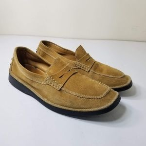 TODS MENS BEIGE SUEDE DRIVING LOAFERS SHOES